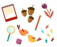 Attributs de l'école Bientôt à l'école Calibre pour la carte postale d'école Calibre pour la conception Les enfants vont à l'écol illustration stock