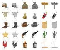 Attributs de la bande dessinée occidentale sauvage, icônes de monochrom dans la collection réglée pour la conception Actions de s illustration de vecteur
