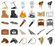 Attributs de la bande dessinée occidentale sauvage, icônes noires dans la collection réglée pour la conception Web d'actions de s illustration stock