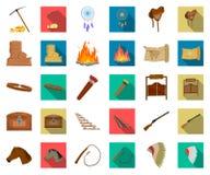 Attributs de la bande dessinée occidentale sauvage, icônes plates dans la collection réglée pour la conception Web d'actions de s illustration de vecteur