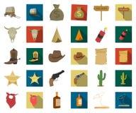 Attributs de la bande dessinée occidentale sauvage, icônes plates dans la collection réglée pour la conception Web d'actions de s illustration stock