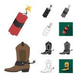 Attributs de la bande dessinée occidentale sauvage, noir, plat, monochrome, icônes d'ensemble dans la collection d'ensemble pour  illustration libre de droits