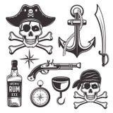 Attributs de pirates réglés des éléments de vintage de vecteur illustration stock