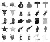Attributs des icônes noires et monochromes occidentales sauvages dans la collection réglée pour la conception Actions de symbole  illustration de vecteur
