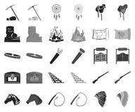 Attributs des icônes noires et monochromes occidentales sauvages dans la collection réglée pour la conception Actions de symbole  illustration stock