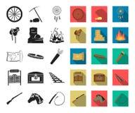 Attributs des icônes noires et plates occidentales sauvages dans la collection réglée pour la conception Web d'actions de symbole illustration libre de droits
