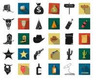 Attributs des icônes noires et plates occidentales sauvages dans la collection réglée pour la conception Web d'actions de symbole illustration de vecteur