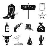 Attributs des icônes noires occidentales sauvages dans la collection d'ensemble pour la conception Web d'actions de symbole de ve illustration libre de droits