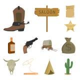 Attributs des icônes occidentales sauvages de bande dessinée dans la collection d'ensemble pour la conception Web d'actions de sy illustration de vecteur