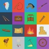 Attributs des icônes occidentales sauvages de bande dessinée dans la collection d'ensemble pour la conception Web d'actions de sy illustration libre de droits