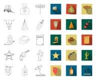 Attributs du contour occidental sauvage, icônes plates dans la collection réglée pour la conception Web d'actions de symbole de v illustration de vecteur