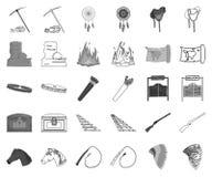 Attributs du monochrome occidental sauvage, icônes d'ensemble dans la collection réglée pour la conception Actions de symbole de  illustration libre de droits