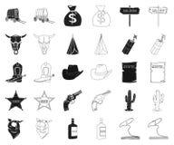 Attributs du noir occidental sauvage, icônes d'ensemble dans la collection réglée pour la conception Web d'actions de symbole de  illustration de vecteur