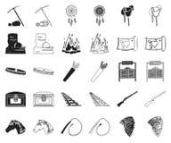 Attributs du noir occidental sauvage, icônes d'ensemble dans la collection réglée pour la conception Web d'actions de symbole de  illustration stock