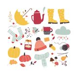Attributs mignons d'automne de vecteur Humeur d'automne illustration libre de droits