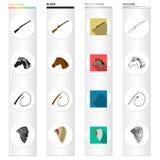 Attributs, voyage, histoire et toute autre icône de Web dans le style différent Indien, prairies, icônes de réservation dans la c illustration stock
