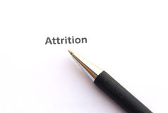 Attrition with pen Royalty Free Stock Photography