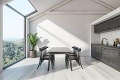 Attycki Skandynawski kuchenny wnętrze z stołem ilustracja wektor