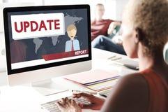 Atualização que tende o conceito da informação do relatório de notícias de última hora fotos de stock royalty free