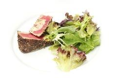 Atum grelhado e salada Imagens de Stock Royalty Free