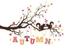 与灰鼠的Atumn树,传染媒介 免版税库存照片