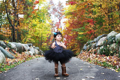 Atumn colors. A toddler's walk in the fall wearing tutu and boots Stock Images