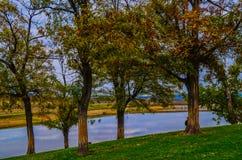 Atumn landscape of trees near the  lake of villige Yabulkovo , Bulgaria Stock Image