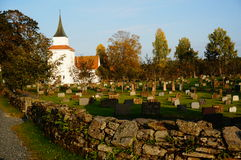 Atumn on norwegian cemetery and church, Norway Stock Photo