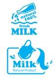 Atural牛奶标签或徽章 库存图片