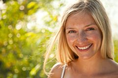 Atural caucasian blond woman portrait Stock Photography