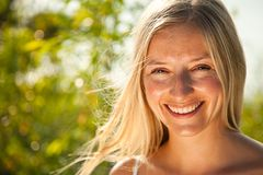 Atural caucasian blond woman portrait Royalty Free Stock Photo