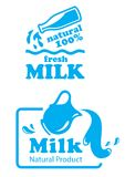 Atural Milk labels or badges Stock Images
