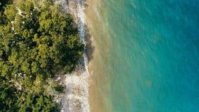 Aturdindo a imagem geométrica mínima do zangão aéreo de uma costa tropical remota do oceano do mar com a selva luxúria arenosa da imagens de stock royalty free