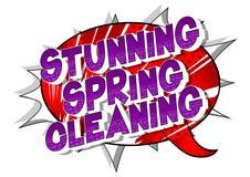 Aturdindo a limpeza da primavera - palavras do estilo da banda desenhada ilustração do vetor