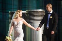 Aturdindo a noiva que mantém o noivo perto da construção moderna imagens de stock royalty free