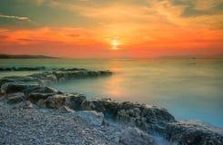 Aturdindo o por do sol na ilha de Brac, Croácia, Europa fotografia de stock