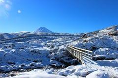 Aturdir el volcán de Ruapehu con el campo en invierno Fotos de archivo