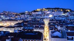 Aturdir la visión desde la elevación de Santa Justa, Lisboa, Portugal fotos de archivo