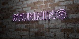 ATURDIR - Sinal de néon de incandescência na parede da alvenaria - 3D rendeu a ilustração conservada em estoque livre dos direito ilustração do vetor
