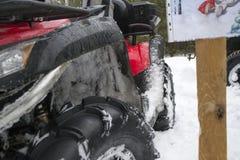 ATV在冬天 库存图片