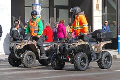 ATV汽车在圣帕特里克` s天游行渥太华,加拿大 免版税图库摄影