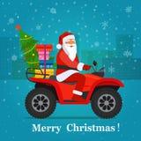 ATV с Санта Клаусом, рождественской елкой и подарочными коробками иллюстрация штока