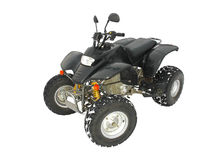 ATV Black All Terrain Vehicle on white snow Stock Images