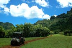 ATV Car. Beautiful view of Kauai mountains, ATV car on the small road Stock Images