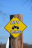 ATV Crossing Sign 4 Wheeler Post Royalty Free Stock Image