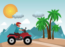 Atv driver man beach mountain background Royalty Free Stock Photography