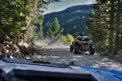 ATV driving in Whistler. Driving ATV`s around Whistler Valley stock photography