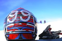 ATV Helmet 99. ATV racer's helmet and gloves Stock Image