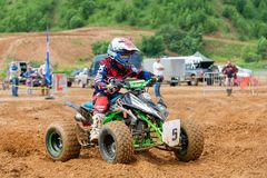 On the ATV. MOSCOW, RUSSIA - JULY 1, 2017: Unrecognized young athletes,  class ATV, in the Velyaminovo Race Weekend 2017, Motopark Velyaminovo, Istrinsky Stock Photography