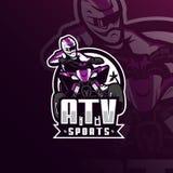 Atv motocross maskotki logo wektorowy projekt z nowożytnym ilustracyjnym pojęcie stylem dla odznaki, emblemata i tshirt druku, AT ilustracji